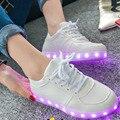 Мода Привела Обувь Для Взрослых Женщин Высокого Качества Огни USB Зарядки Красочные Светящиеся Любителей Обувь Повседневная Свет обувь