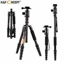Big discount K&F CONCEPT Professional Aluminum Alloy Camera Tripod With Panoramic Ball Head Monopod 12 kg Load Capacity+Bag For Canon Nikon