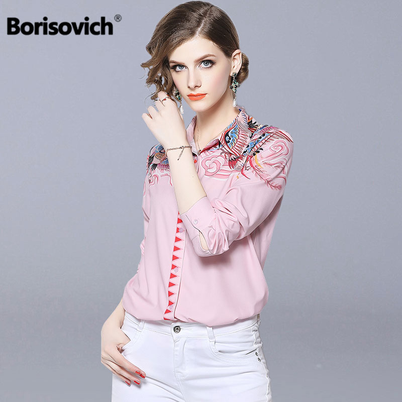 Borisovich Office Lady Pink Elegant   Shirt   New Brand 2018 Autumn Vintage Print Turn-down Collar Women Casual   Blouses     Shirts   N370