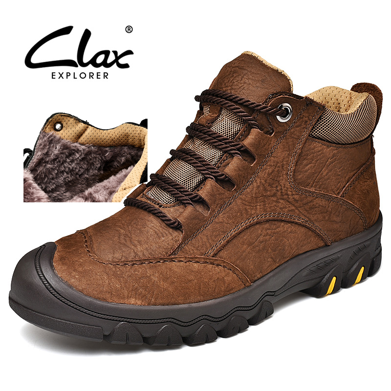 CLAX Mens Winter Boots Genuine Leather 2018 Work Shoes Male Snow Shoe Fur Warm Leather Shoe Safety Shoe Soft chaussure homme clax men leather boots genuine leather spring autumn casual shoe male safety shoes work boot soft chaussure homme walking shoe