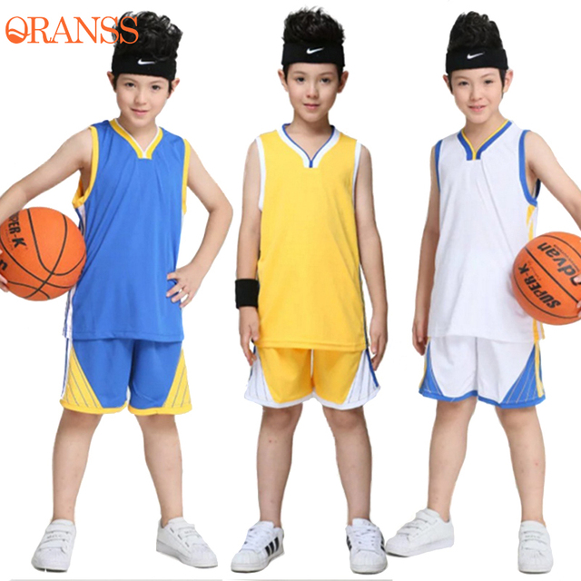f6802e820 Kids Blank Warriors Basketball Jersey Set Boys Training Tracksuit  Sportswear Sports Suit School Students Training Team Uniform-in Basketball  Jerseys from ...