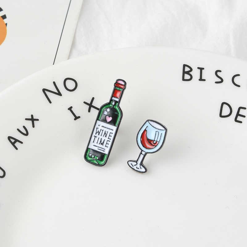 Винтажная эмалированная брошь миниатюрный винный бокал Нагрудный значок на булавке джинсы рубашка сумка мультфильм Любовь ювелирные изделия подарок для влюбленных жены