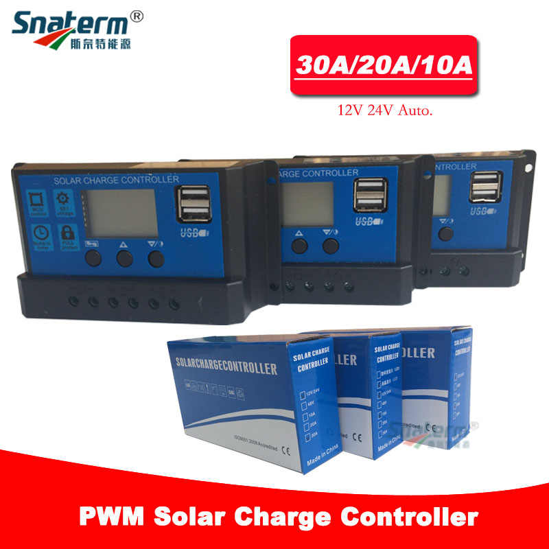 12V 24V Solar PV Charge Controller 30A 20A 10A with LCD display and double USB PWM Solar PV Regulators Battery Chargers 30Amps