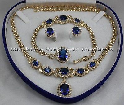 Véritable Zircon bleu incrusté lien Bracelet boucles d'oreilles bague collier ensemble>> nouveau-montre en gros Quartz pierre CZ cristal