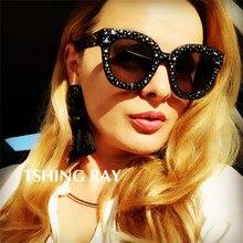 ad230f9475 TSHING RAY 2019 De Luxe En Cristal Carré lunettes de Soleil Femmes Marque  De Mode Italienne Miroir Rétro Pleine Étoile lunettes .
