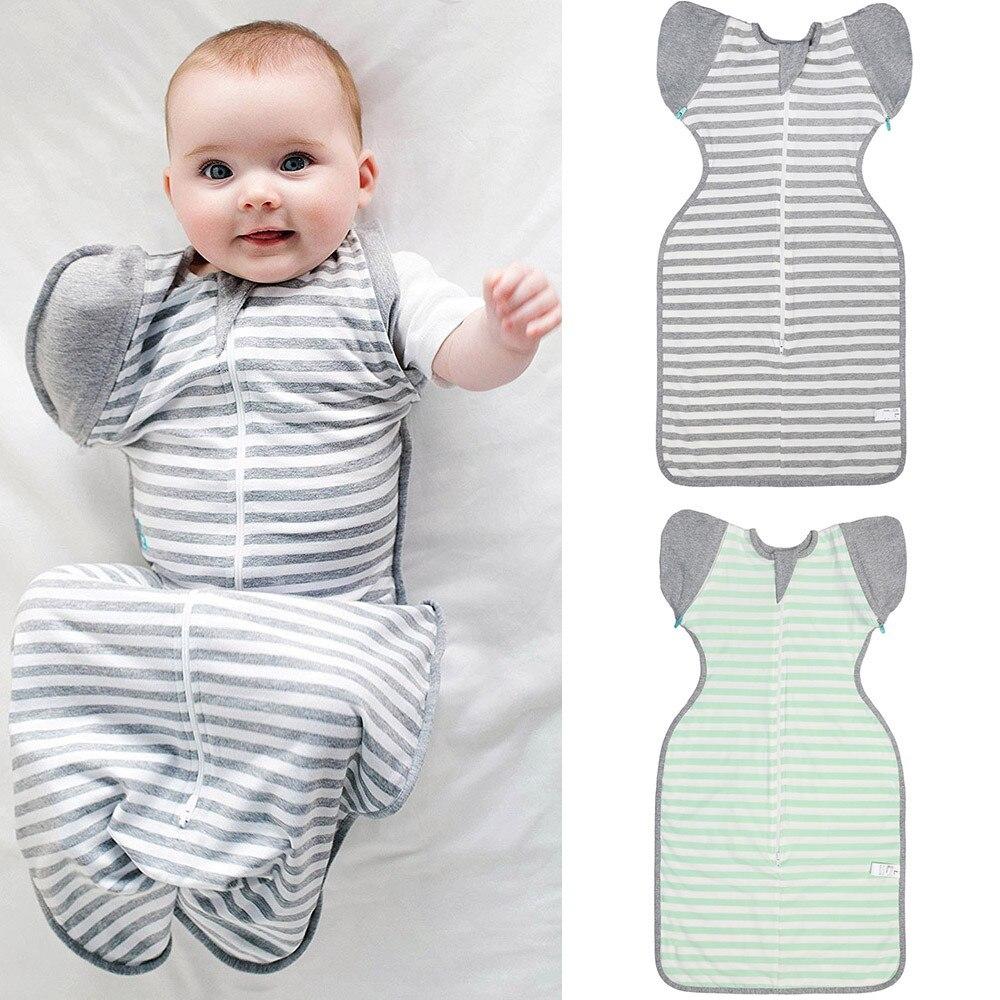 2018 Newborn Infant Baby Sleeping Bag Striped Blanket Sleeping Wrap Zipper Swaddle Grenn Gray Baby Nest ...