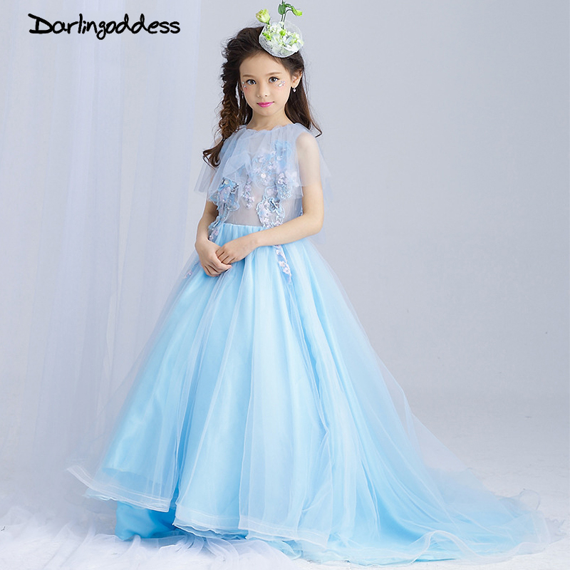 2017 New Arrival Light Blue   Flower     Girl     Dresses   for Weddings   Girls   Pageant   Dresses   Kids with Long Train First Communion   Dress