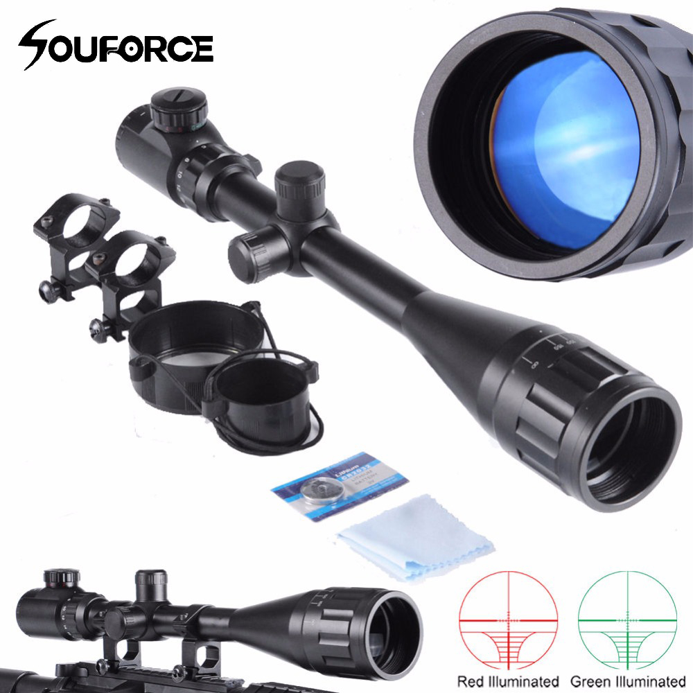 Hunting 6-24X50 AOEG Green/Red Mil-Dot/Rangfinder Tactical Optics Riflescope With a Dust Cover for Shotgun Riflescopes combo 6 24x50 aoeg riflescopes green red dot