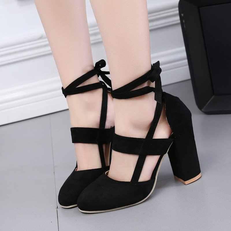 בתוספת גודל קיץ נשים נעלי קרסול רצועת עקבים גבוהים גלדיאטור סנדלי נשים עקבים עבים אופנה ליידי מסיבת חתונה משאבות WSH3329