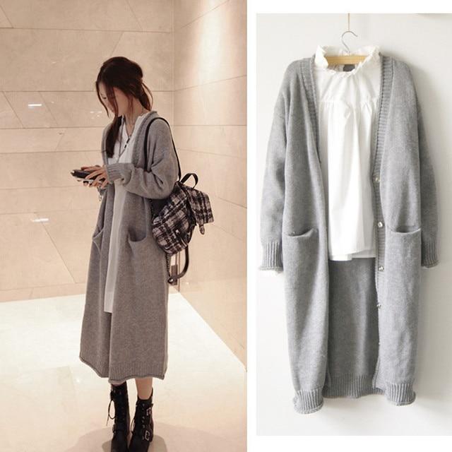 b76e6e23279a4 Otoño invierno Poncho moda para mujer largo sólido suelto de punto de lana  suéter para la