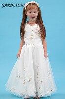 2017 weiße blume mädchen kleid friesen applique ballkleid frist kommunion kleider für mädchen weg von der schulter kids kittel designs