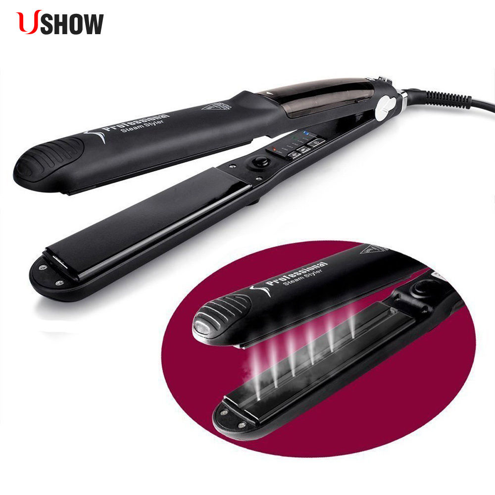 USHOW Professional Hair Steam Straightener Tourmaline Ceramic Flat Iron Straightening Irons with Argan Oil Infusion hair country steam hair straightener function flat iron tourmaline ceramic vapor professional with infusion straightening irons
