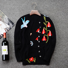 Fashion AutumnWwinter 2016 Women's High Quality Vintage Slim Cardigan Wool Embroidered Short Design Sweater Outerwear