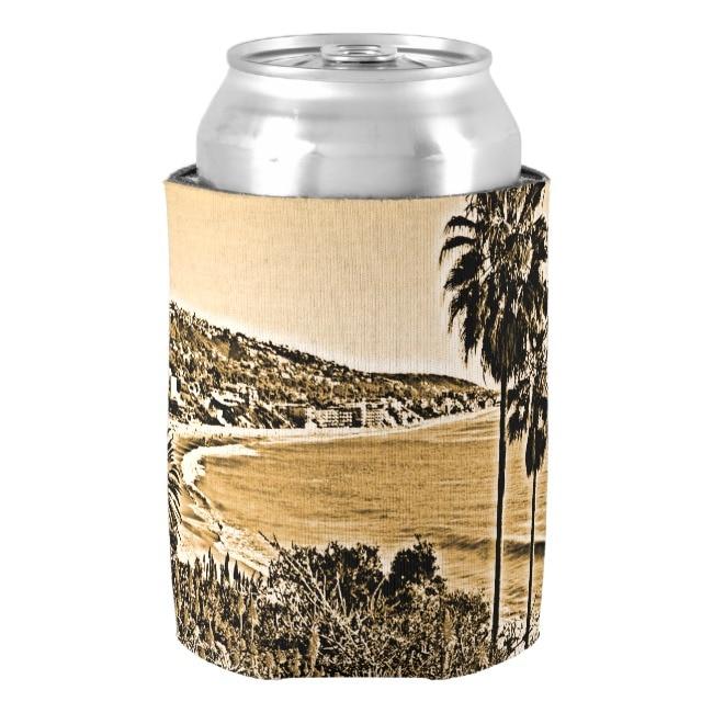 US $7 63 9% OFF Laguna Beach Vintage Can Cooler Neoprene Beer Can Cooler  Holder Drink Beer Cooler Bottle Beverage Insulators Party Decor-in Wine