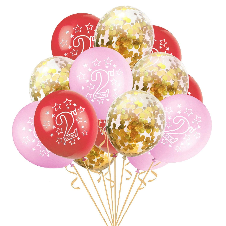 15 шт. 12 дюймов счастливый 2 лет День рождения Синий Розовый Золото Роза латексные Конфетти Для детей день рождения мультфильм шляпа подарки для детей - Цвет: pink gold