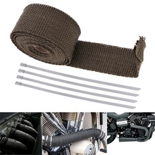 1PC 5m x 50mm Exhaust Heat Thermo Wrap Insulation Pipe Tape Cloth Roll Titanium Glass Fiber with 4 Stainless Fixed Ties for Cars