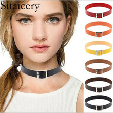 Sitaicery Sexy Hot PU Leather Gothic Punk Choker Necklace Rivet Buckle Silver Metal Collar Chain Necklace Gift For Women Jewelry gothic pu leather choker necklace