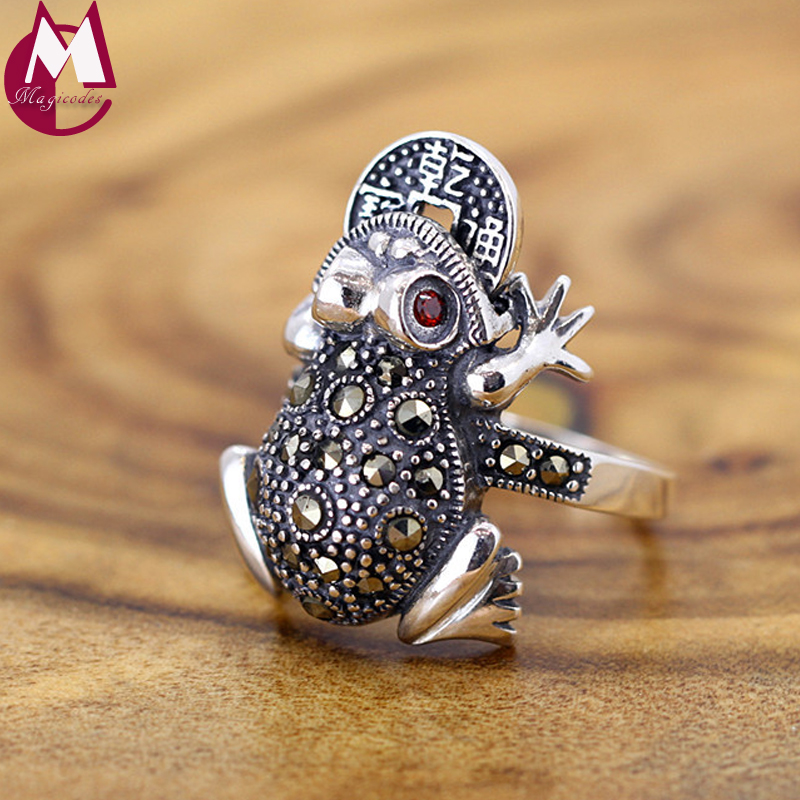 Ring For Women Lucky Toad Frog Plutus Coins Lovely Red Crystal Vintage Jewelry Real 925 Sterling Thai Silver Animal RR322