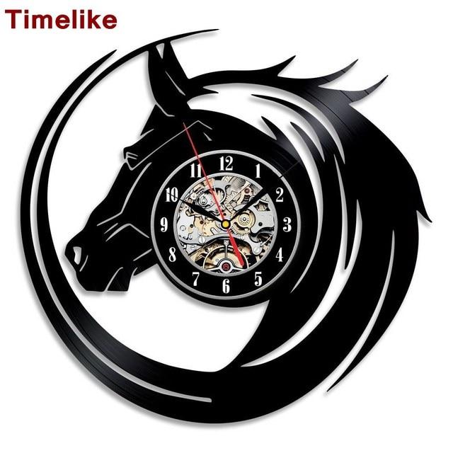 c18fa0ffa09 2019 New Hot Creative CD Vinyl Record Wall Clock Modern Design Animal Dog  Cat Horse Wall Watch Classic Clock Relogio Parede
