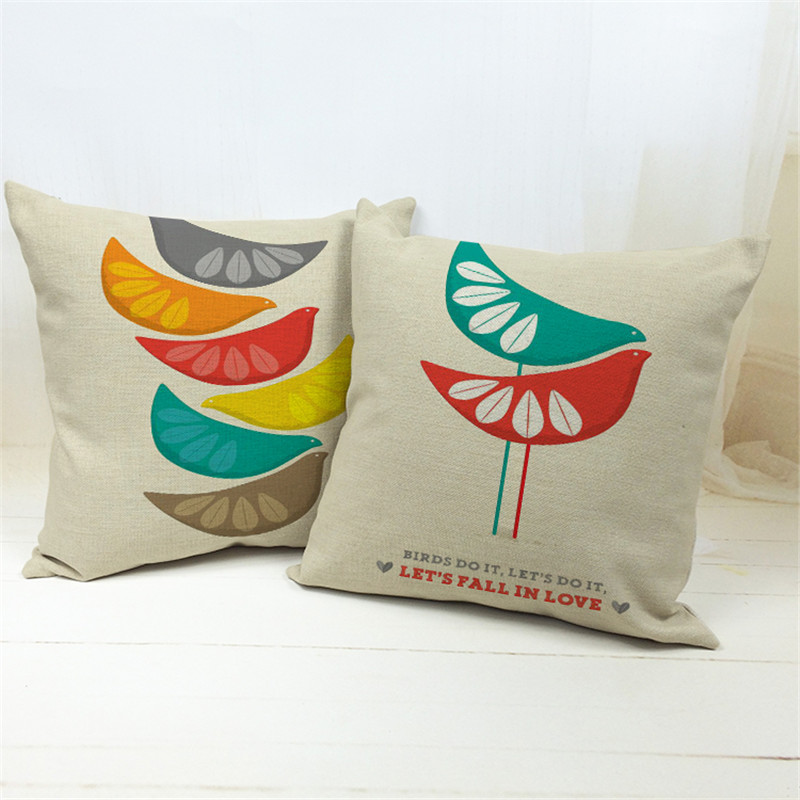 High quality colorful cartoon love birds Linen Pillow Case Sofa Throw Cushion Cover Home /car Decorative