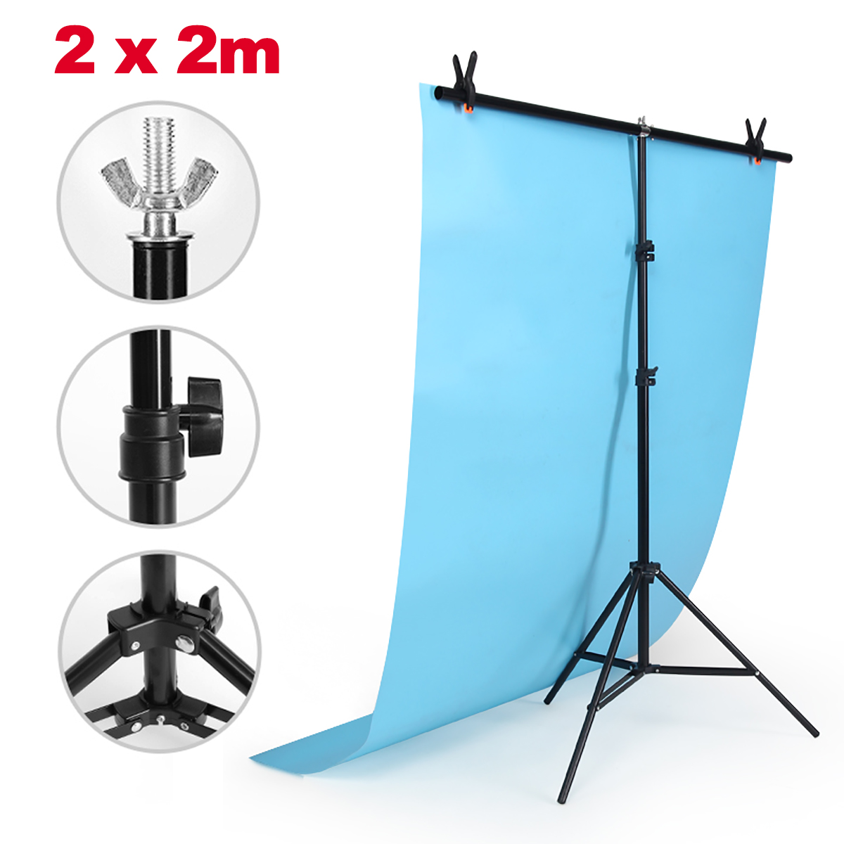 2*2m Adjustable Background Support Stand Photo Backdrop Crossbar Kit Photography 2 8m x 3m pro adjustable background support stand photo backdrop crossbar kit photography stand 3 clips for photo studio