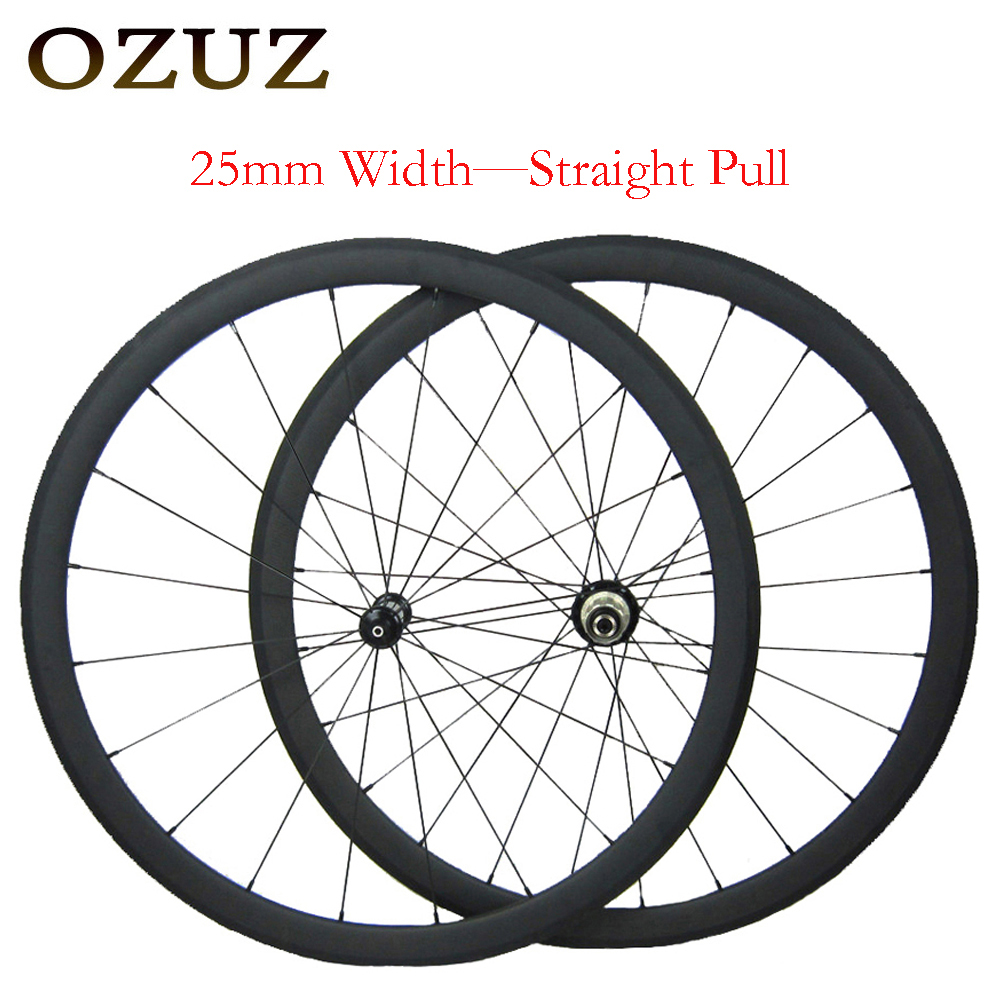 OZUZ 25 millimetri di larghezza etero tirare 38 millimetri 50 millimetri in profondità ruote da strada in carbonio 3 k opaco graffatrice 700c della bici ruote 1432 cnspoke tassa incluso