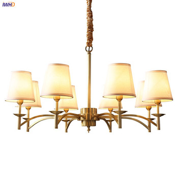 IWHD American Country LED Chandelier For Bedroom Living Room Loft Decor Vintage Fabric Copper Chandeliers LED Lustre Lampadario