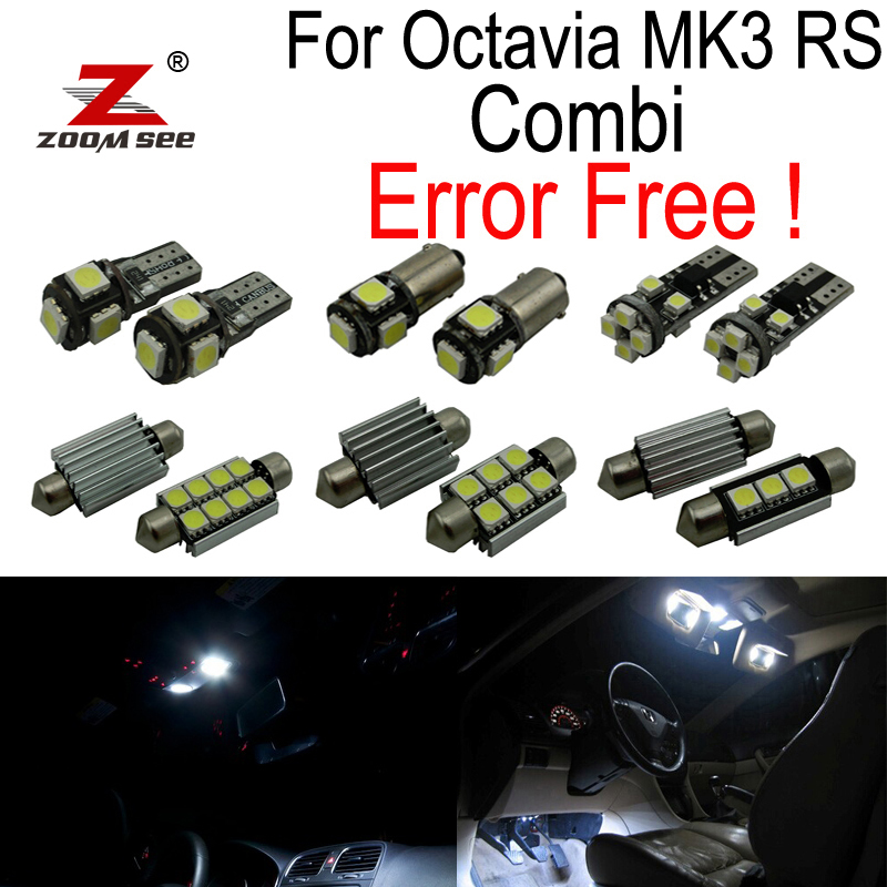 13pcs license plate lamp + Decoder LED bulb Interior dome Light Kit for Skoda Octavia 3 MK III RS Combi 5E5 Estate (2013+) 13pcs canbus car led light bulbs interior package kit for 2006 2010 jeep commander map dome trunk license plate lamp white page 3