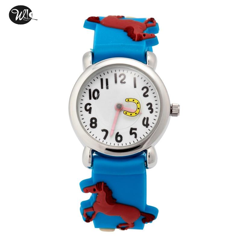 Children's Watch 3D Strap Cartoon Boy Girl Horse Quartz Watch Pointer Electronic Waterproof Watch Child Gift Watch