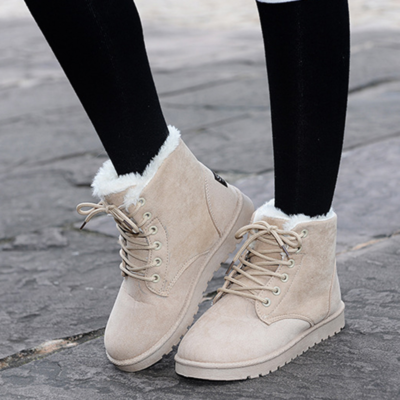 Winter Woman Boots Lace-up Ladies Flat Ankle Boot Casual Round Toe Women Snow Boots Fashion Warm Plus Cotton Shoes ST903 front lace up casual ankle boots autumn vintage brown new booties flat genuine leather suede shoes round toe fall female fashion