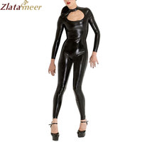 Women Latex Bodysuit Zentai Sexy Catsuit with Back Zipper Bust Hollow Out Rubber Sexy Bodystockings LC244
