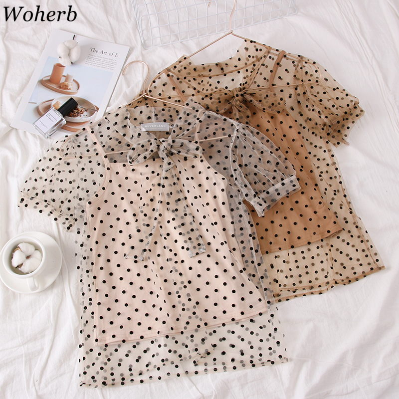 Women's Clothing Buy Cheap Woherb Summer Two Piece Set Blouse And Vest 2019 See Through Top Women Sexy Shirt Sweet Polka Dot Print Mesh Gauze Blusas 22046