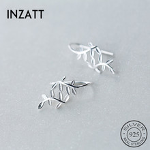 INZATT Real 925 Sterling Silver Classic cute Leaves Drop Earrings For charm Women Birthday Party 2018 Elegant Fine Jewelry Gift