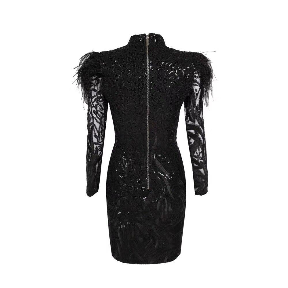 Водолазка с перьями, расшитое блестками, прозрачное, хит продаж, сексуальное Клубное платье, облегающее платье, вечернее платье для знаменитостей, оптовая продажа - 3