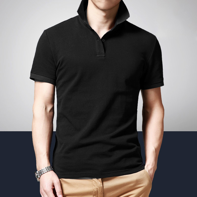 Mens Clothing 2019 Summer Short Sleeve   Polo   Solid Slim Shirt Men Grey Casual Regular   Polos   Breathable Button Black White Shirt