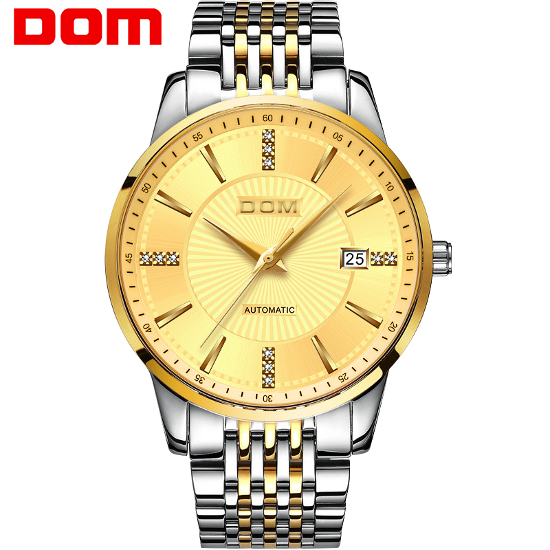 DOM Watch Men 2018 Top Brand Luxury Famous Male Clock Mechanical Watch Golden Dial Wristwatch Automatic Relogio Masculino M-79 dom leather men watch 2018 top brand luxury famous auto date wristwatch male clock waterproof quartz watch relogio masculino