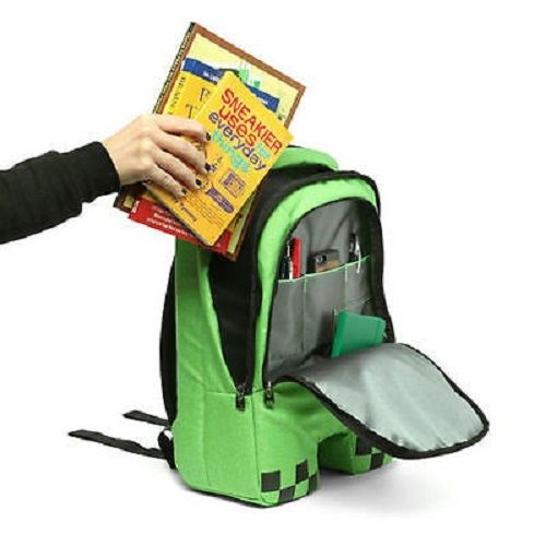 minecraft backpack factory directly children schoolbag boy girls canvas zip green creeper backpacks unme children schoolbag for grade 1 3 girls backpack waterproof leather light for boy