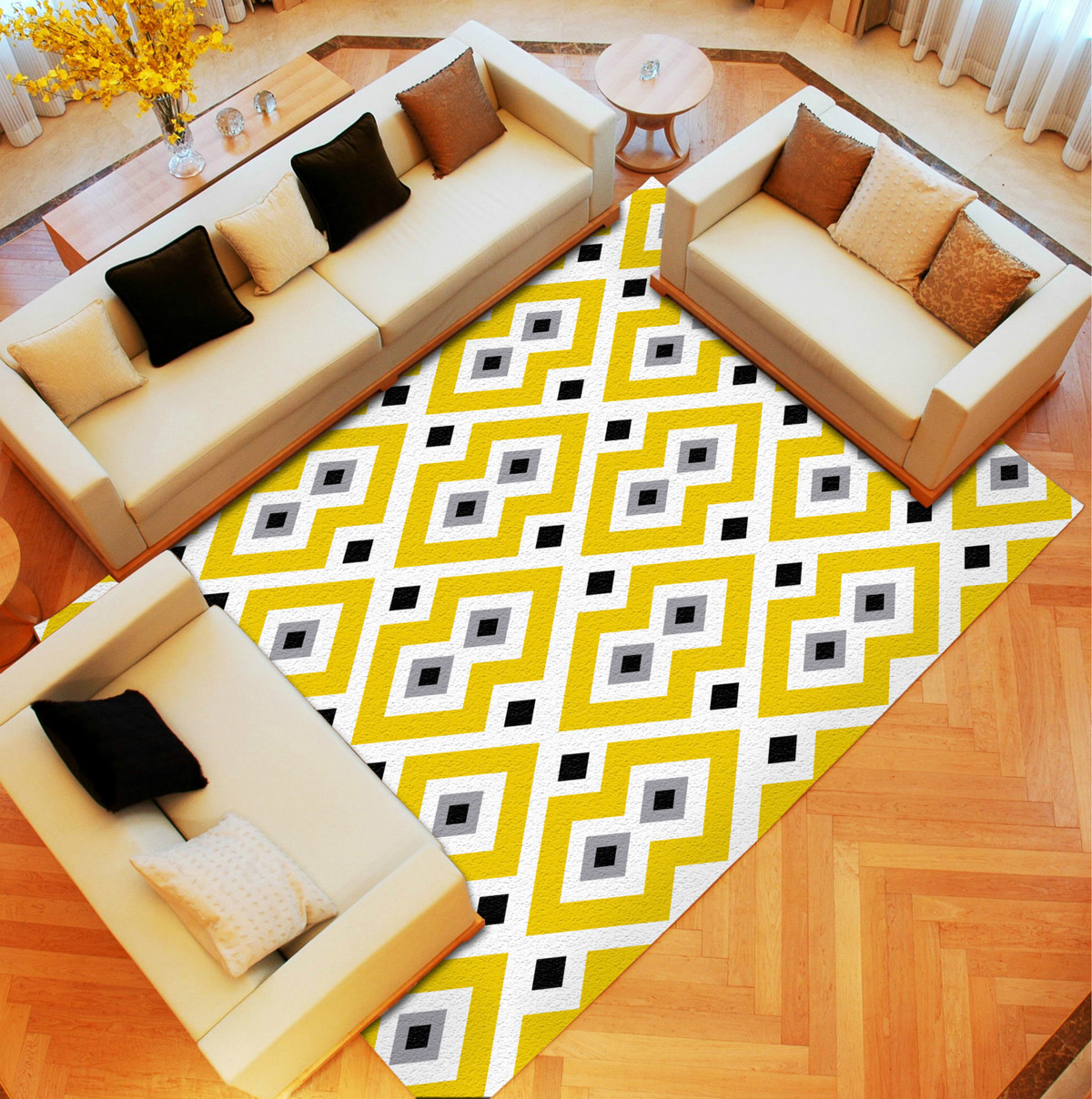 Vintage Modern Fashion Classic Geometric Stripe Decorative Area Rug For Living Room Large Big Carpet Bedroom Non Slip Tatami