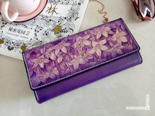 free shipping Plant tanned leather personality tailored stereo flower long purple purse Pure manual long purse Original design