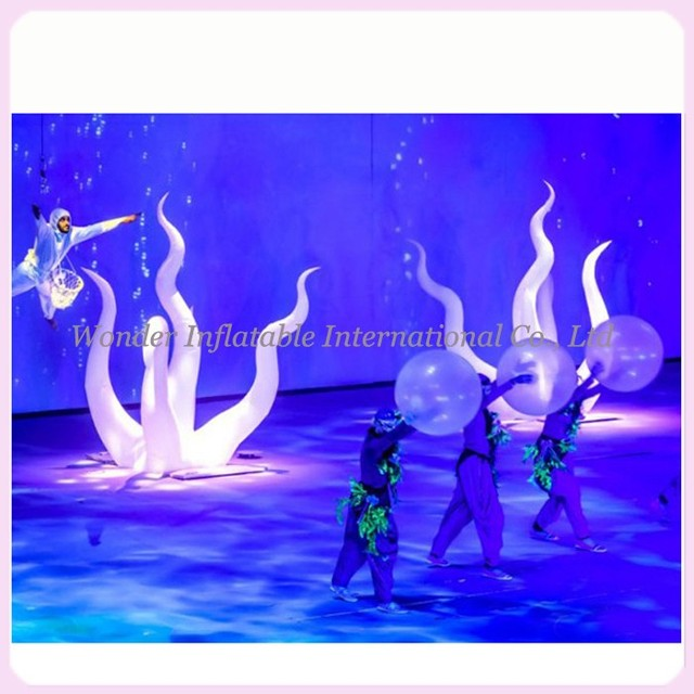 Nice oxford 2.3mH ground inflatable seaweed inflatable led seaweed for party stage decoration