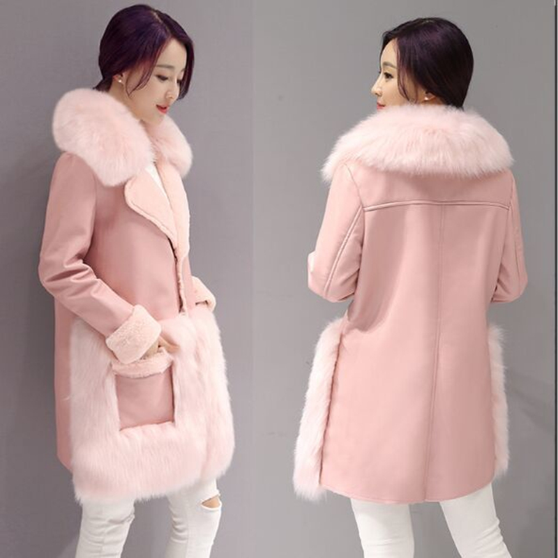 De Vestes 4xl Manteau Col Femme Survêtement Lady 2019 Élégant Imitation Pu Haute Coutures Grand Pink Pardessus Fourrure Cuir Coréen En tQCBxhdsr