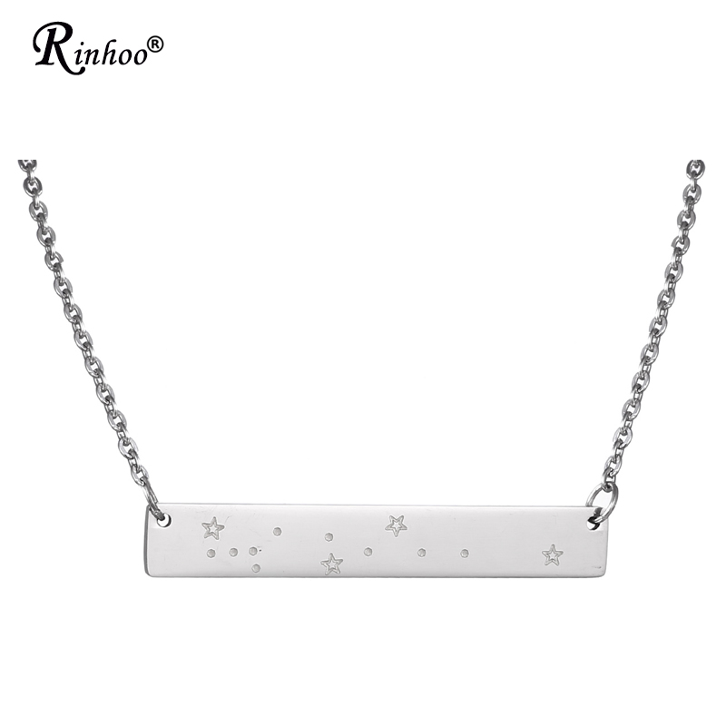 New Arrival Simple 12 Zodiac Signs Constellations Pendants Necklace Stainless Steel Jewelry Aries Cancer Necklace For Women