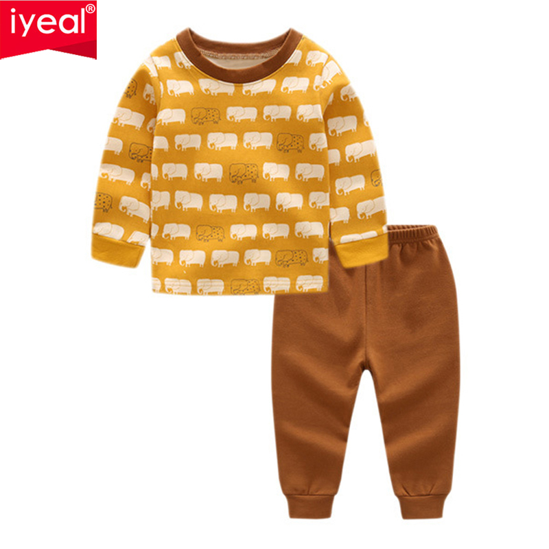 IYEAL New 2018 Brand Cartoon Kid Pajamas Autumn& Winter Boys Cartoon Pajamas Set Children Sleepwear Christmas Kids Clothes Set