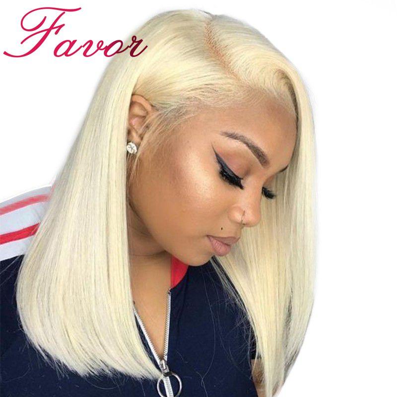 Favoriser Cheveux 613 Blonde Bob Pleine Perruque de Lacet Droit Brésilien 100% Remy Humains Cheveux Pré Pincées Dégarni 150% Densité Complet dentelle Perruques