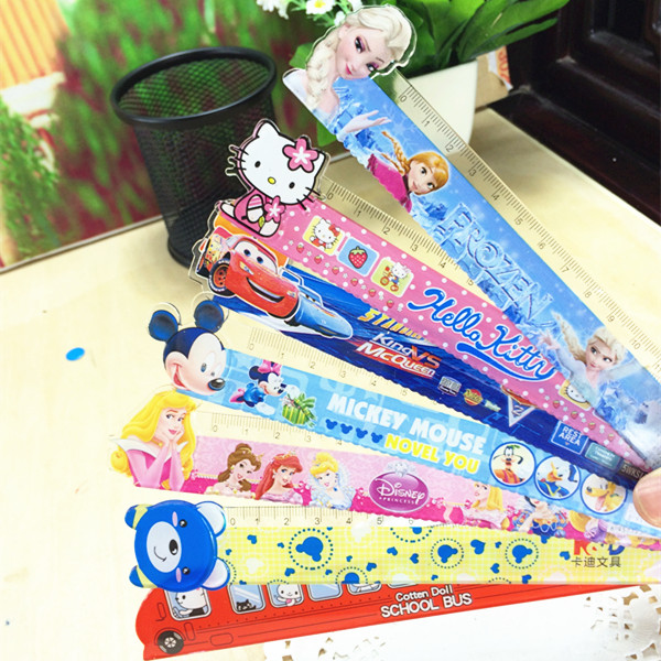 3 Pcs / Lot Pupil Creative Stationery Wave Cartoon Shape Straight Ruler Animal Modeling Ruler Student Painting 15CM Curve Ruler