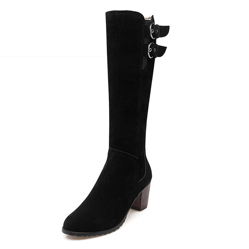 Big Size 34 43 2016 Nubuck Female Footwear Knee Boots Autumn Winter Boots Buckle Charm Thick
