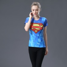 2017  Heroes T Shirt Women T-shirt Fashion Caption America 3D Print Avenger Compression Shirts Tops Superman Shirt Tights