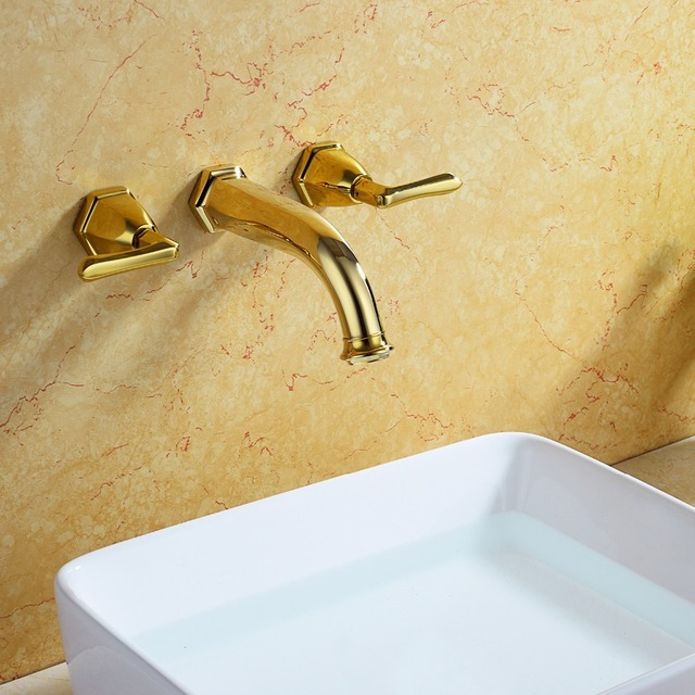 Free Ship Gold Finish Wall Mounted 8 Widespread Bathroom Basin