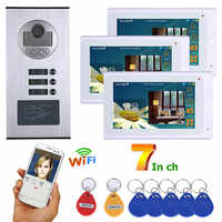 Wired Video Intercom Systems 3 apartments 7 inch Wifi Video Door Phone System RFID IR-CUT HD 1000TVL Doorbell Camera