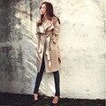 Kingsnower 2016 Autumn Winter Women Trench Coat Female Windbreaker Pocket Ladies Casual Fashion Loose Plus Size 3XL JA8031